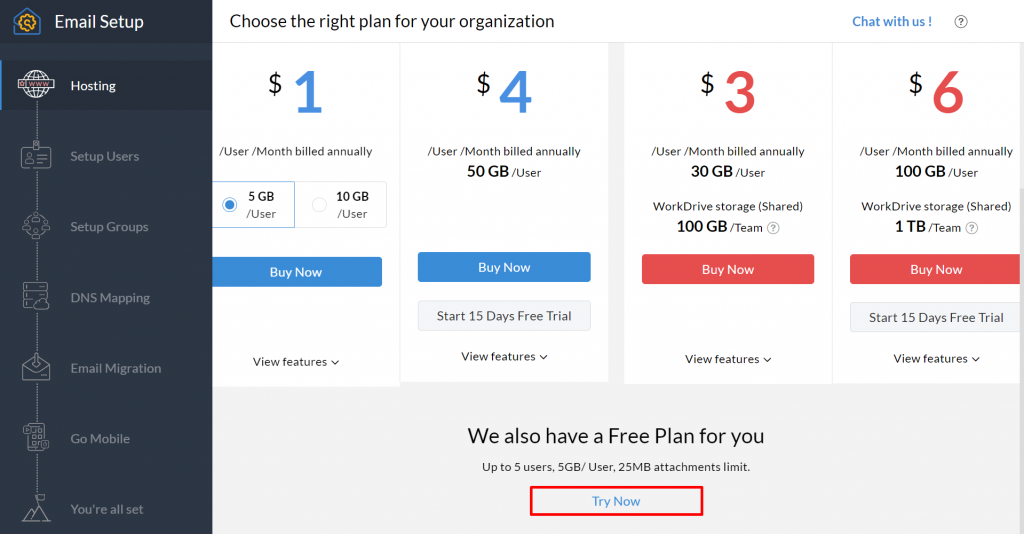 Zoho Mail email hosting plans.