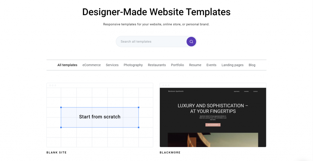 Zyro's website template selection page.