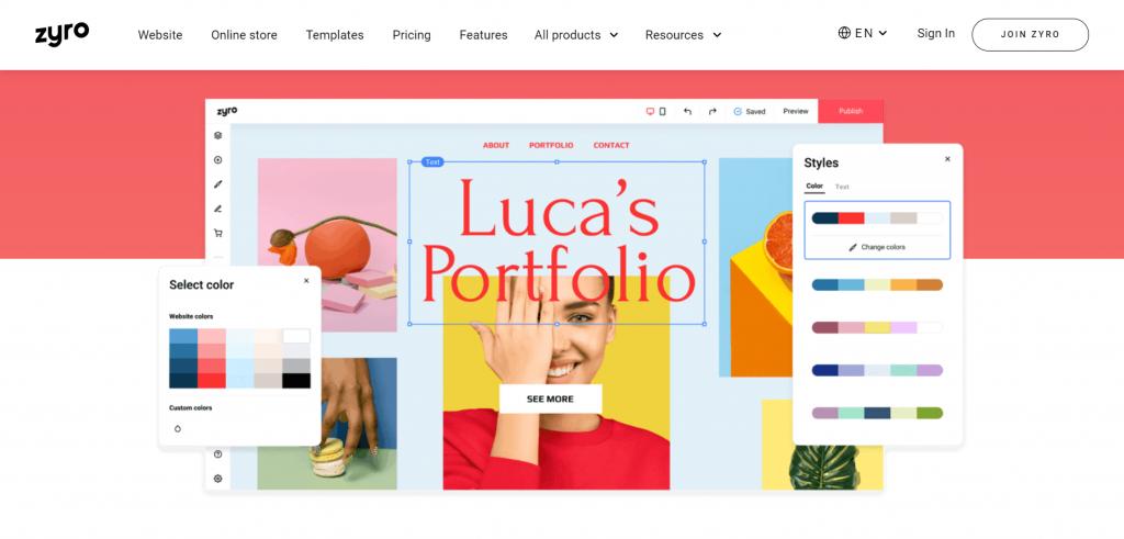 Zyro's homepage.