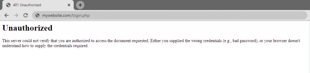401 error message caused by a failed login attempt.