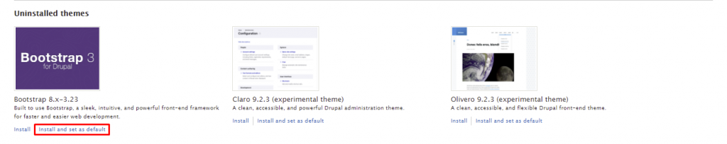 Screenshot showing where to click to install and set as default Bootstrap theme