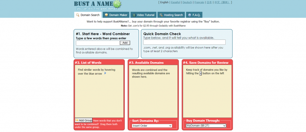 Bust a Name homepage.