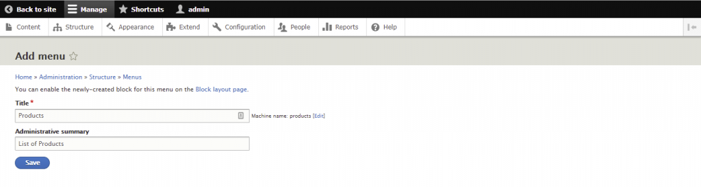 Screenshot from the Drupal dashboard showing how to add menu