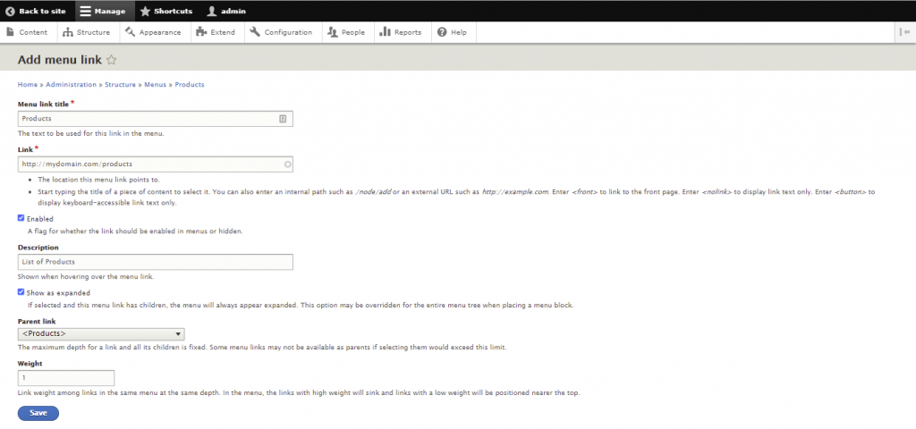 Screenshot from the Drupal dashboard showing how to add menu link