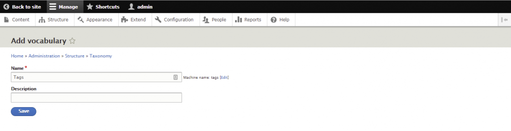 Screenshot from the Drupal dashboard showing how to add vocabulary for tags