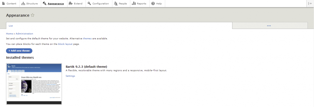 Screenshot showing how to view installed Drupal themes