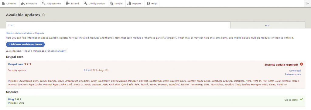 Screenshot from Drupal dashboard showing how to check if there are available updates