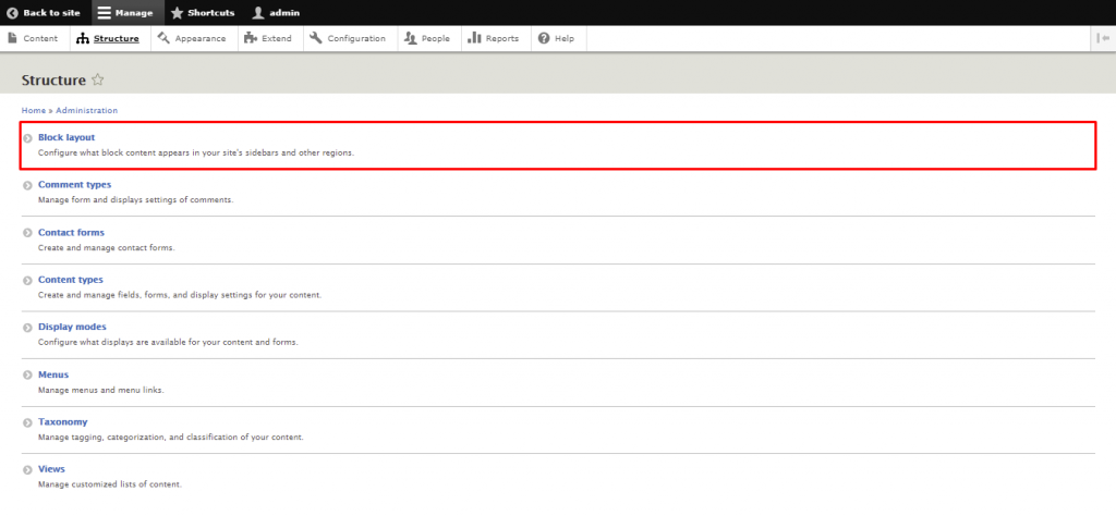 Screenshot from the Drupal dashboard showing where to find Block Layout