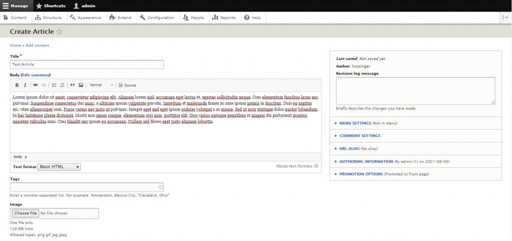 Screenshot from the Drupal dashboard showing how to create an article