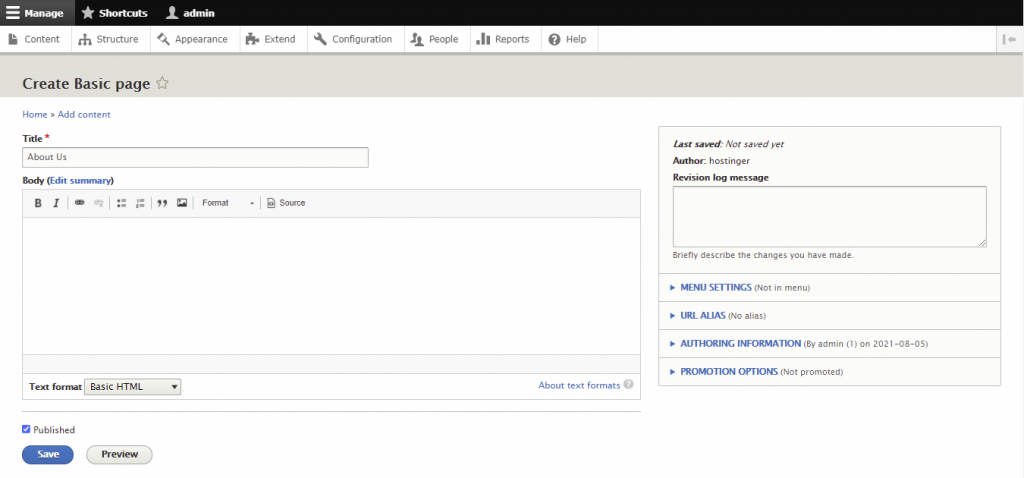 Screenshot from the Drupal dashboard showing where to create the basic page - add title, body, and choose text format