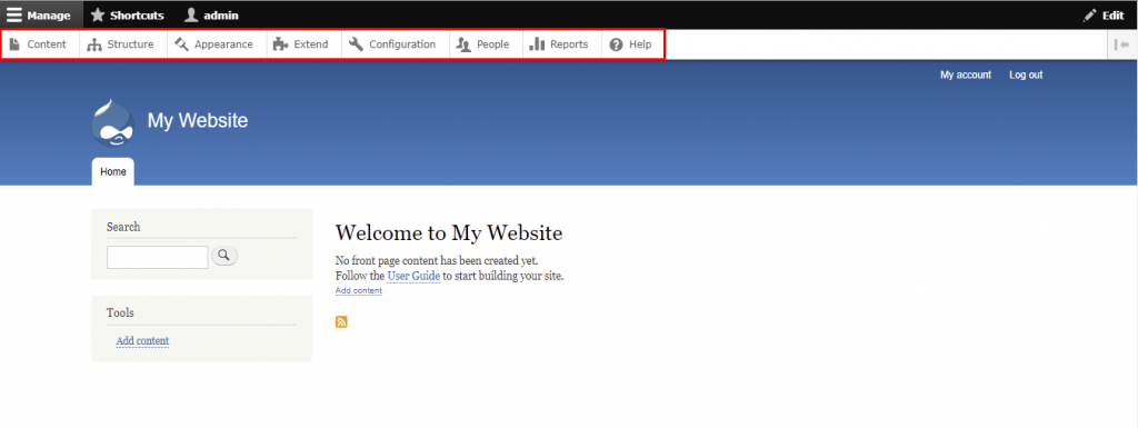 Drupal's dashboard - Welcome to My Website
