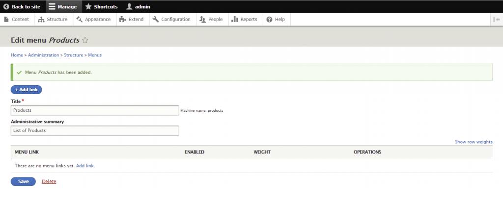 Screenshot from the Drupal dashboard showing how to edit menu