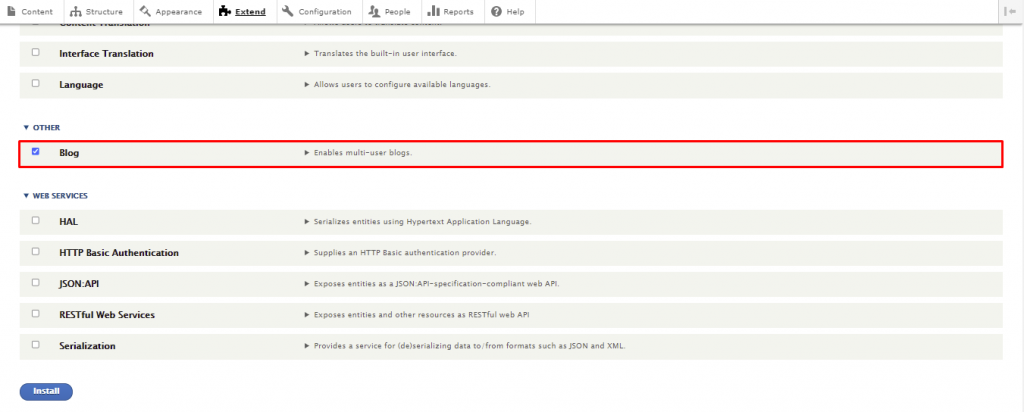 Screenshot showing where to check the box to install the blog module