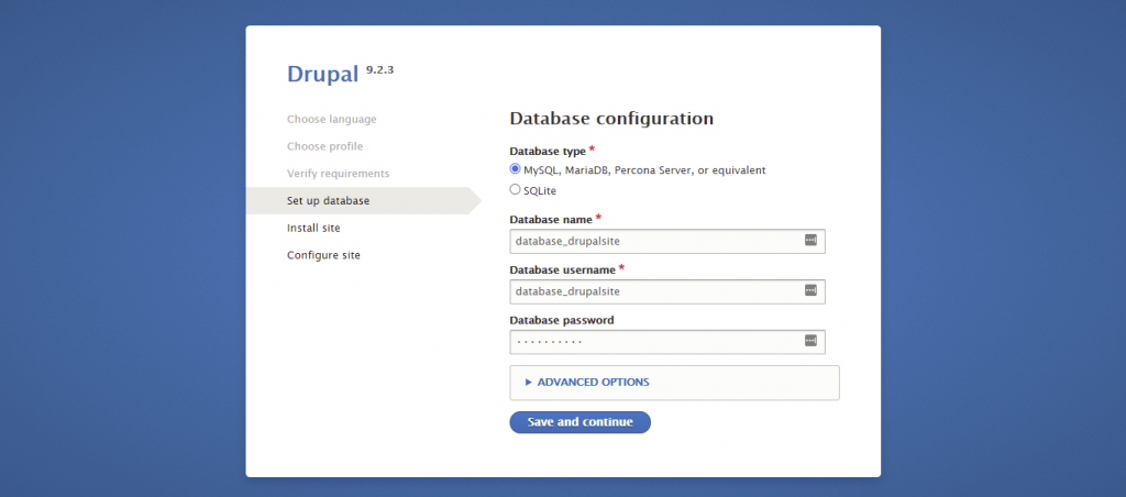 Screenshot from the Drupal installer showing how to enter the database information