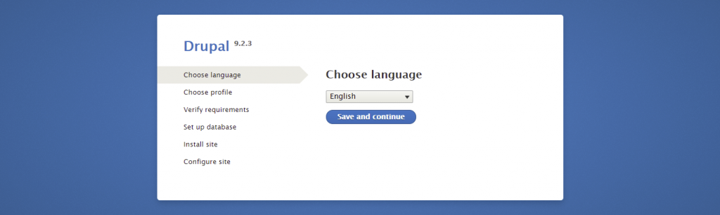 Screenshot from the Drupal installer showing how to choose English language