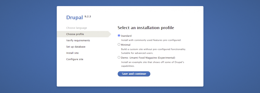 Screenshot from the Drupal installer showing how to select a standard installation profile