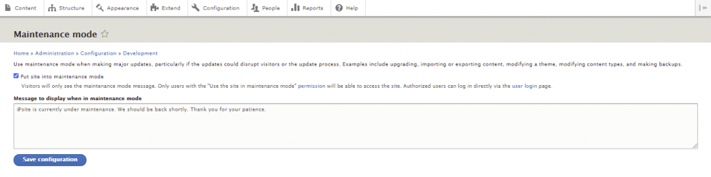 Creating a custom message - site is currently under maintenance. We should be back shortly. That you for your patience.