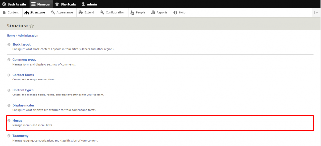 Screenshot from the Drupal dashboard showing where to find Menus