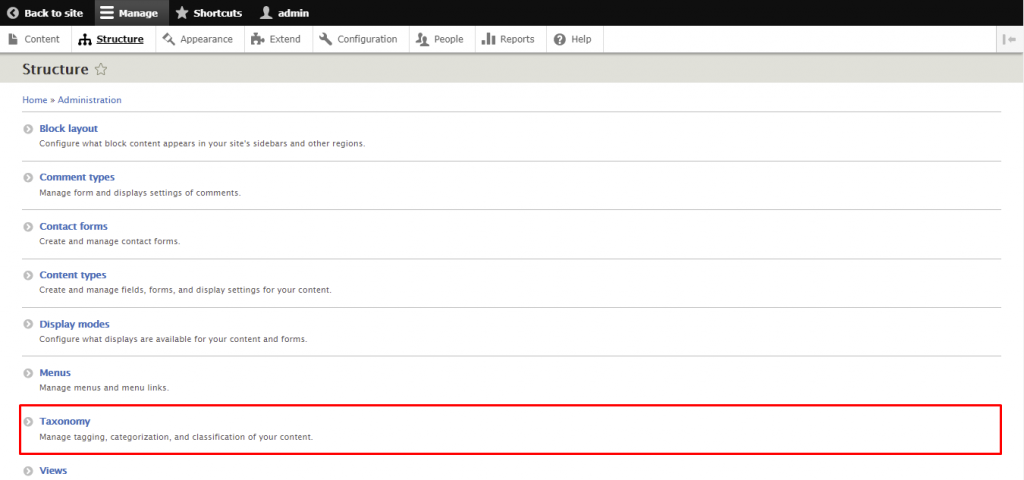 Screenshot from the Drupal dashboard showing where to find taxonomy
