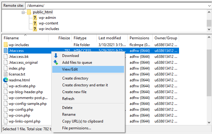 Selecting to View/Edit the .htaccess file on FileZilla.
