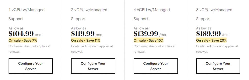GoDaddy's self-managed VPS hosting plans of high RAM category