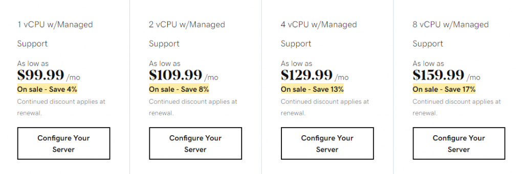 GoDaddy's self-managed VPS hosting plans of standard RAM category