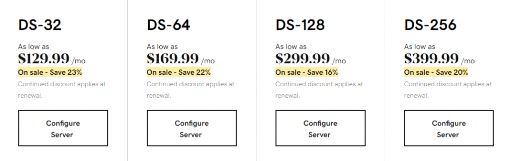 GoDaddy's dedicated hosting plans under the HDD category