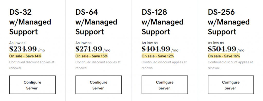 GoDaddy's managed dedicated hosting plans under the HDD category
