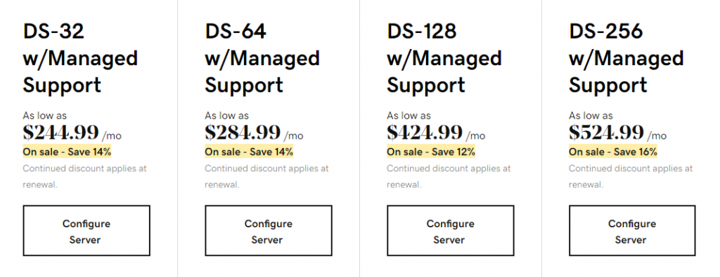 GoDaddy's managed dedicated hosting plans under the SSD NVMe category
