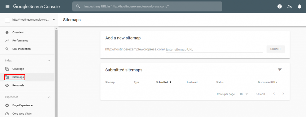 Screenshot from Google Search Console showing where to add a new sitemap.