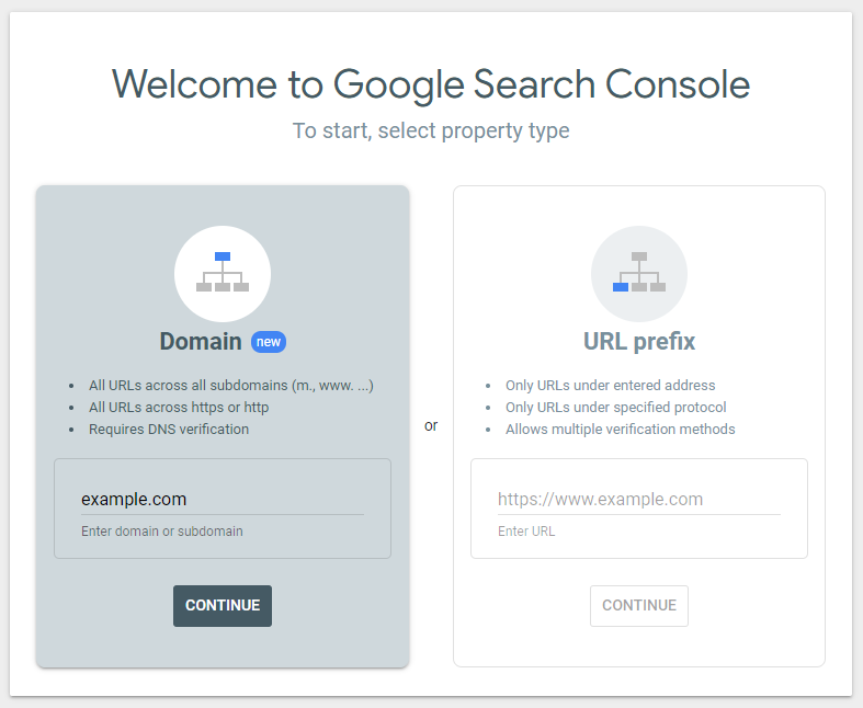 The Welcome to Google Search Console window where we select the Domain option.