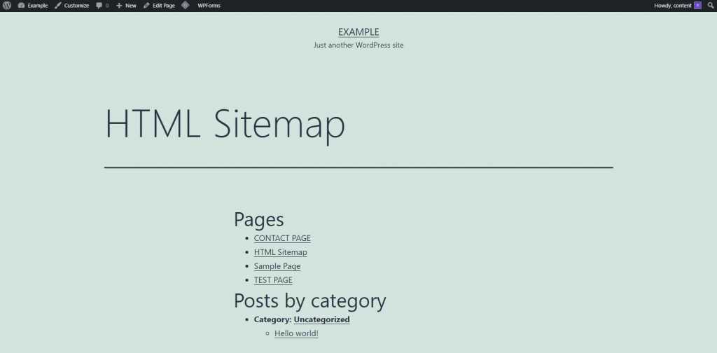 How the HTML sitemap looks on a website.