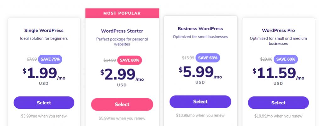 Hostinger's WordPress hosting plans