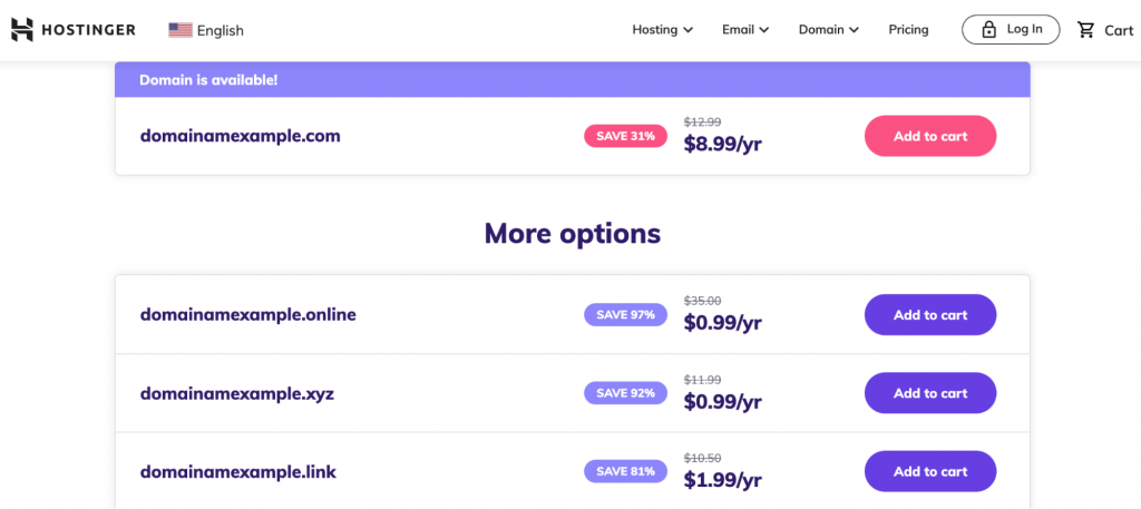 Hostinger domain checker informing that the domain is available and showing its possible alternatives and their prices.