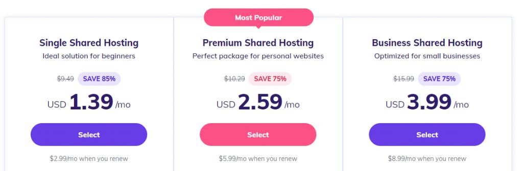 Hostinger's shared hosting plans