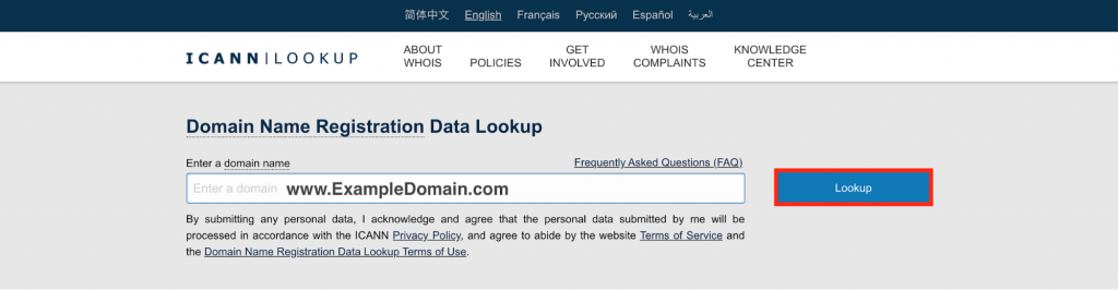 Using ICANN Domain Name Registration Data Lookup to check www.ExampleDomain.com.
