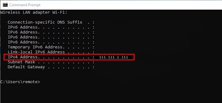 Screenshot from the Command Prompt app showing your IPv4 address