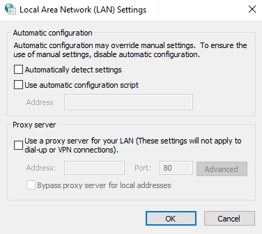 Unticking all the proxy settings in Windows LAN settings