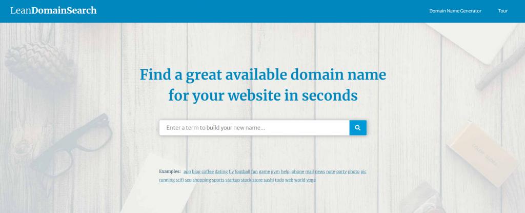 Lean domain search homepage.