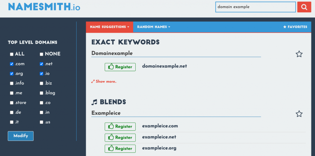 The Namesmith's name suggestions tab showing the results after typing domain example,