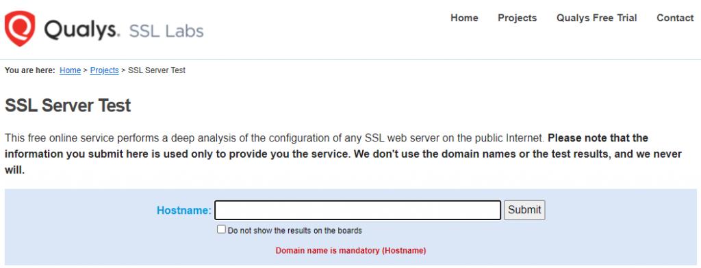 Qualys SSL Labs SSL server test.