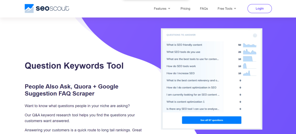Use SEOScout's Keyword Questions Tool to discover topics and questions related to your niche.