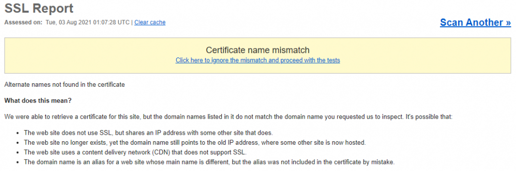 SSL Report informing about the certificate name mismatch.
