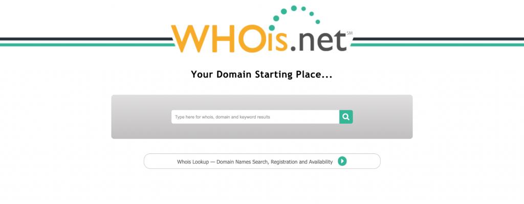 WHOis.net domain name registrants lookup tool.