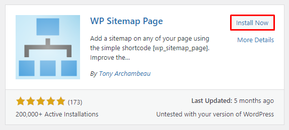 Clicking on the Install Now button to get the WP Sitemap Page plugin.
