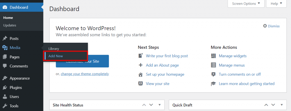 Screenshot from the WordPress dashboard showing where to find Media and click on Add New.