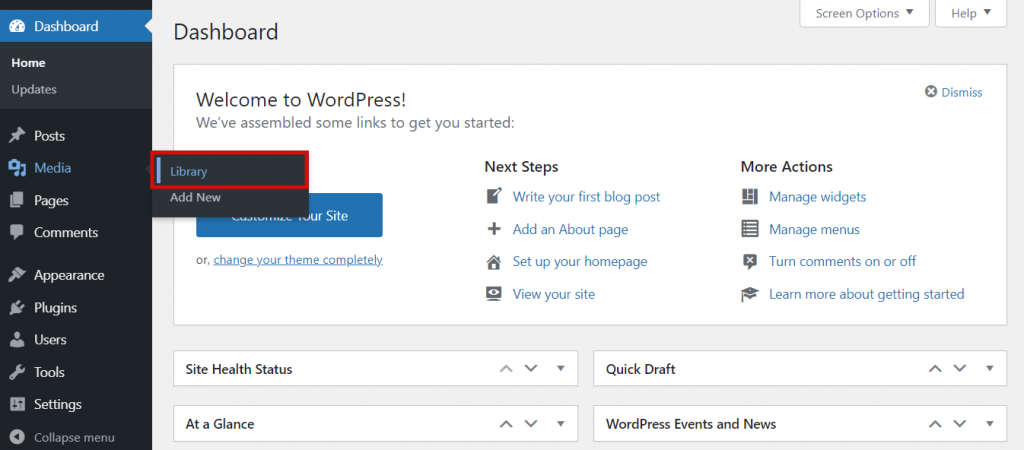 Screenshot from the WordPress media showing where to find the Library.