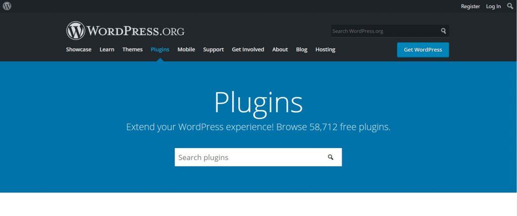 WordPress plugins homepage.