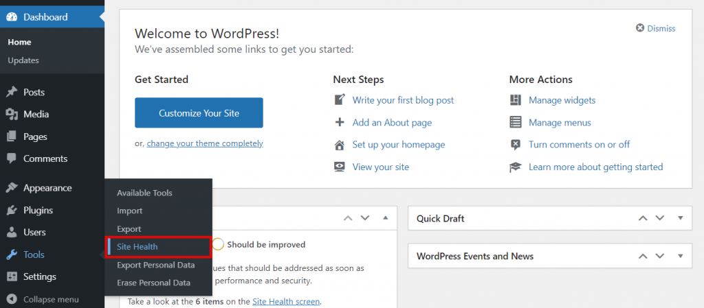 Selecting Site Health in the WordPress dashboard.