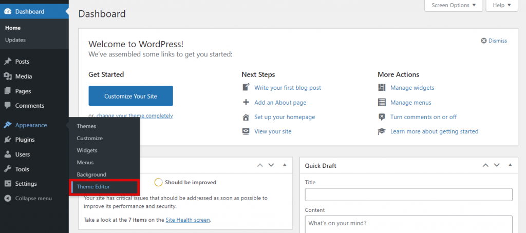 Screenshot from the WordPress dashboard showing where to find the Theme Editor.
